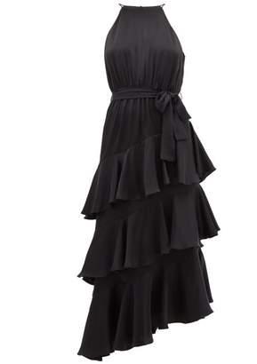 Zimmermann Espionage Asymmetric Tiered Silk-satin Dress - Womens - Black