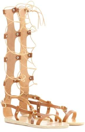 Ancient Greek Sandals Sofia High leather gladiator sandals