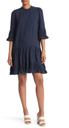 Max Studio Drop Waist Ruffle Hem Shift Dress