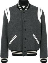 Saint Laurent classic teddy jacket - men - Cotton/Calf Leather/Wool/Polyimide - 50