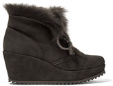 Pedro Garcia Fidela Shearling-lined Suede Wedge Boots - Dark gray