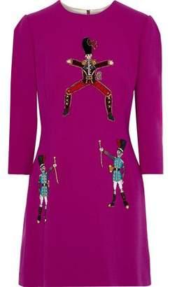 Dolce & Gabbana Appliqued Stretch Wool-crepe Mini Dress