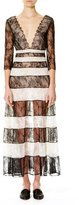 Carolina Herrera Striped Lace 3/4-Sleeve Gown, Black/White