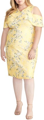 Rachel Roy Floral Cold Shoulder Ruffled Sheath Dress