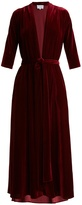 Luisa Beccaria Deep V-neck tie-waist velvet midi dress