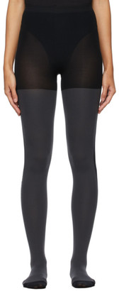 Issey Miyake Black and Grey Two-Tone Tights