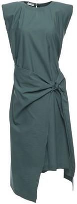 Brunello Cucinelli Wrap-effect Crinkled Cotton-blend Poplin Dress