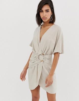 Asos Design DESIGN mini dress in slubby cotton with ring detail-Beige