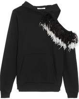 Christopher Kane Hooded Cutout Feather-trimmed Cotton-jersey Sweatshirt - Black