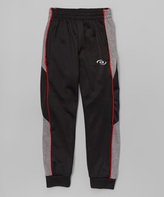 CB Sports Black & Red Track Pants - Boys