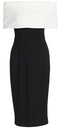 Lela Rose Off-The-Shoulder Pencil Dress