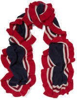 Madeleine Thompson Ava Ruffled Striped Cashmere Scarf - Midnight blue