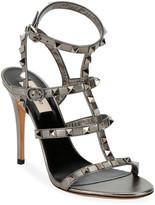 Valentino Garavani Rockstud Metallic Leather T-Strap 105mm Sandals