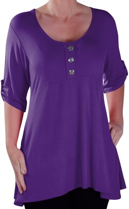 Eyecatch - Eva Flared Womens Button Front Scoop Neck Tunic Plus Size Ladies T- Shirt Long Top 16 Turquoise