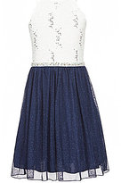 Xtraordinary Big Girls 7-16 Double Strap Sequin Lace Fit-And-Flare Dress