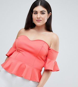 ASOS DESIGN Curve pep hem top in scuba