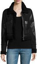 MICHAEL Michael Kors Cropped Leather/Fur Aviator Coat