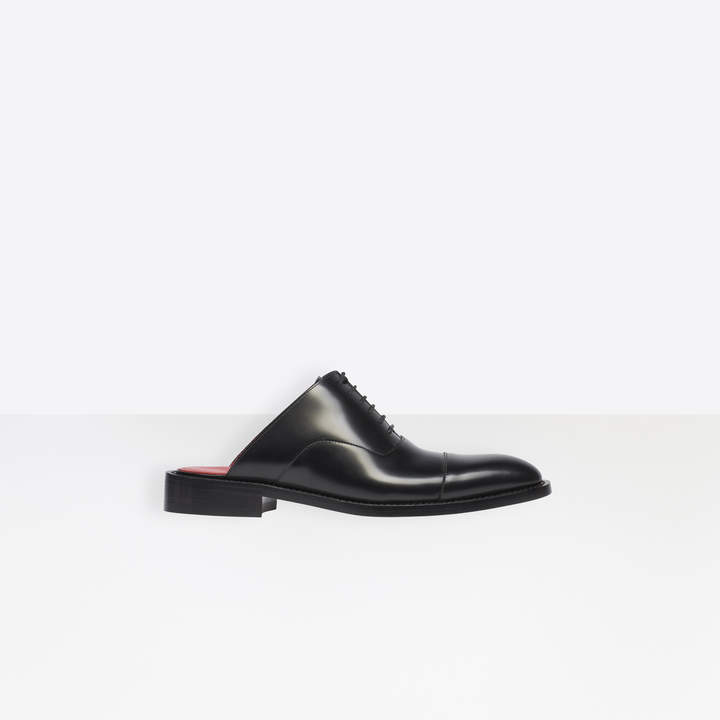 Balenciaga Chrystal 20mm Derby Mules in black smooth leather