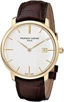Frederique Constant Men's FC306V4S5 Slim Line Gold-Tone Watch with Brown Band