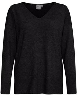 Ichi Kava Long Sleeve Top - grey | l - Grey/Black/Grey