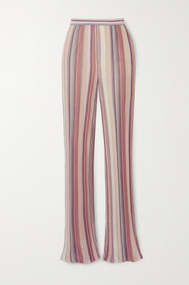 Missoni Metallic Striped Crochet-knit Straight-leg Pants - Pink
