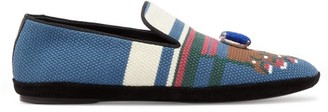 Loewe Toe Needlepoint-embroidered Loafers - Womens - Green Multi