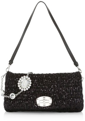 Miu Miu Crystal-Embellished Sequin Shoulder Bag