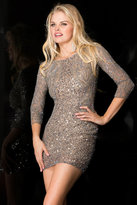 Scala Quarter Sleeve Sequined Short Dress in Lead Silver 48605