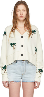 Alanui Off-White Wool Palm Forest Cardigan