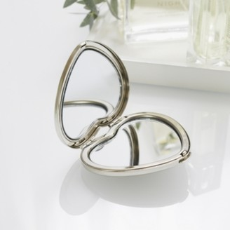The White Company Heart Compact Mirror, Silver, One Size