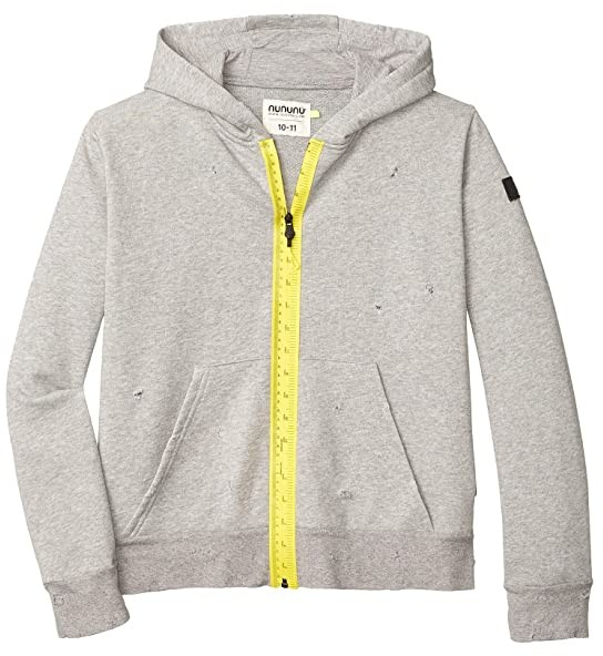 Nununu Measuring Band Warm Zip Hoodie (Little Kids/Big Kids) (Heather Grey) Boy's Clothing