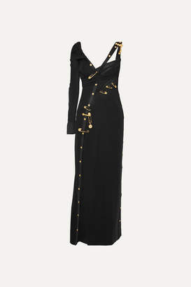 Versace Embellished Cutout Crepe, Silk-chiffon And Tulle Gown - Black
