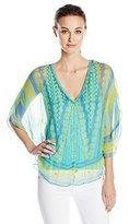 Hale Bob Women's Meet Me In Havana Lurex Silk Chiffon Beaded Detail Blouse