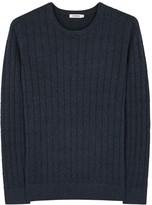 J.lindeberg Hugo Navy Cable-knit Cotton Jumper