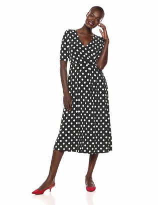 Chaus Women's Short Sleeve Dot Print Ruched Dress