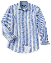 Bugatchi Classic-Fit Stripe Long-Sleeve Woven Shirt