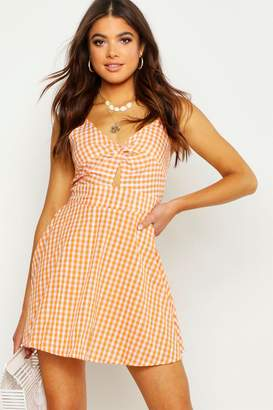 boohoo Strappy Gingham Bow Back Skater Dress