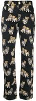 MSGM Kitten print straight-leg trousers