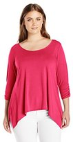 Notations Women's Plus Size 3/4 Sleeve Ruched Jewel Neck Sharkbite Top