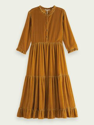 Scotch & Soda Velvet three-quarter sleeve midi-dress | Women