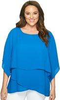 Karen Kane Plus - Plus Size Layered Crossover Top Women's Short Sleeve Pullover