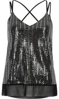 River Island Womens Silver sparkly mesh strappy cami top