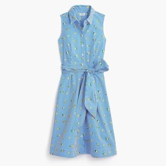 J.Crew Lemon-print sleeveless tie-waist shirtdress