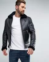 Schott Shearling Flight Jacket Slim Fit In Black