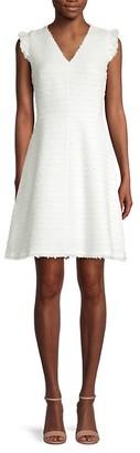 Rebecca Taylor Cap-Sleeve Tweed A-Line Dress