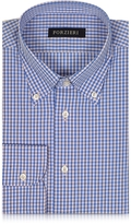 Forzieri Blue & Light Pink Checked Cotton Slim Fit Men's Shirt