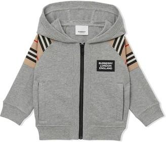 BURBERRY KIDS Icon Stripe panel-detail hoodie