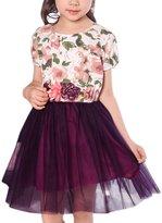 uxcell® Girls Flower Prints Mesh Panel A Line Dress Allegra Kids