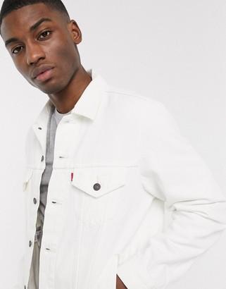Levi's vintage fit denim trucker jacket in white out wash
