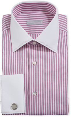 Stefano Ricci Men's Striped Dress Shirt w/ French Cuffs